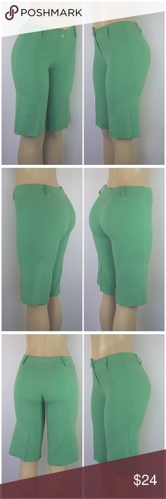 """Offers of 40% Less on BUNDLES Always Accepted! COUNTESS, Made in USA, Bermuda Dress Shorts, size Small See Measurements, exposed button on 2"""" waistband, light-weight slinky soft material, 70% polyester, 27% rayon, 3% spandex, approximate measurements: 14"""" inseam, 8"""" rise, 2"""" zipper.  ADD to a BUNDLE! Offers of 40% Less on BUNDLES Always Accepted! Countess Shorts"""