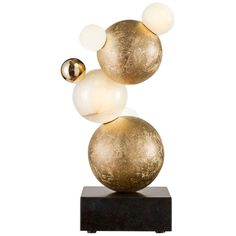 For Sale on - 'Bubbles' Contemporary table lamp by Achille Salvagni in gilt bronze and onyx on an absolute black Zimbabwe granite base.
