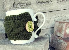 Cup Cozy Knitted Mug Warmer Coffee Olive Green by AutumnAndAmber, $14.00
