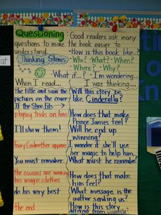 Anchor Chart - Comprehension Think Aloud - Questioning - This lesson was used in a second grade classroom. We read If the Shoe Fits by Alan and Suzanne Osmond.