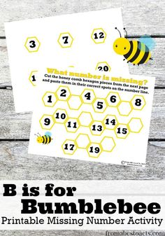 Missing Number Bumblebee Printables