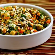 Carrot, Parsley, and Garbanzo (Chickpea) Salad with Feta and Cumin; this may seem like an odd combination but trust me, it's delicious! [from Kalyn's Kitchen] #SummerSalad #Chickpeas #Feta #GlutenFree