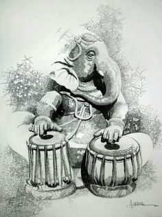 Lord Ganesha Playing The Drums
