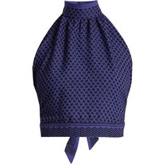 Lilly Lends [Cecilie Copenhagen Open-back scarf-jacquard cotton halterneck top] Cotton Crop Top, Tie Crop Top, Blue Crop Tops, Halter Crop Top, Crop Shirt, Cotton Shirts, Halter Neck, Cropped Tops, Fashion Tape
