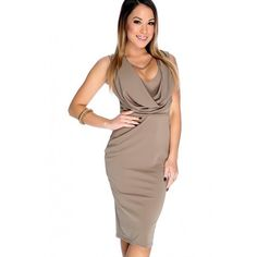 Sexy Mocha Sleeveless Cowl Neck Bodycon Party Dress ($16) ❤ liked on Polyvore featuring dresses, sleeveless cocktail dress, brown cocktail dress, sleeveless prom dress, sexy prom dress and sexy body con dresses