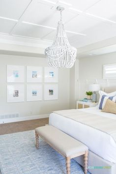Natural and Organic Master Bedroom Reveal - Life On Virginia Street / Gorgeous and natural master bedroom with gallery wall, beaded chandelier, white bedding, striped pillows, coastal decor, and cane bedside tables. #naturalbedroom #masterbedroom #coastaldecor Bedroom Wall, Bedroom Decor, Bedroom Ideas, Bedroom Quotes, Bedroom Interiors, Bedroom Inspiration, Bedroom Furniture, Wall Decor, Home Interior