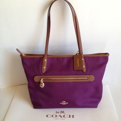 "NWT Coach Sawyer Plum Polyester Twill ZipTote Coach NWT Coach Sawyer plum twill with leather trim tote. Outside pocket trimmed in leather with gold pull. Bottom trimmed in leather. Inside lavender satin lining with zippered pocket and two slip pockets. Handles with 9"" drop.  Top closure is zippered.  Beautiful plum color!  No Trades F37237 Coach Bags Totes"