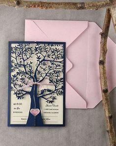 Tree Wedding Invitations 20 Rustic Wedding by forlovepolkadots Handmade Wedding Invitations, Pink Invitations, Rustic Invitations, Wedding Stationery, Invites, Wedding List, Wedding Cards, Dream Wedding, Rustic Wedding
