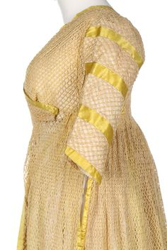 An unusual cotton filet mesh open robe, possibly for fancy-dress, with empire-line inner bodice panels, cross-over bodice, sleeves and trained skirt edged in yellow ribbon. Regency Dress, Regency Era, Yellow Ballgown, Old Fashion Dresses, Morning Dress, 18th Century Fashion, Cotton Skirt, Lovely Dresses, Historical Clothing