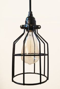 Tesla I Industrial Cage Pendant Lamp with Plug-in Cord - Vintage Bulb Included