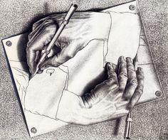 Favorite Artist: MC Escher: Drawing Hands: lithograph: x Escher Drawing Hands, Escher Drawings, 3d Drawings, Funny Drawings, Pencil Drawings, Drawing Drawing, Drawing Skills, Drawing Lessons, Figure Drawings
