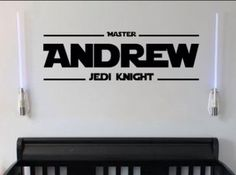 Personalized Master Jedi Knight Name Removable Vinyl Wall Art Quotes Sticker Star Wars Theme - Wall Decals Themed Designs - Star Wars Decal by WordFactoryDesign on Etsy https://www.etsy.com/listing/218158785/personalized-master-jedi-knight-name
