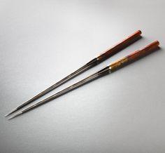 Ambroyna Damascus Moribashi handmade chopsticks by Isaiah Schroeder.