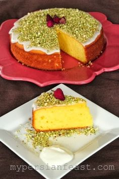 My Persian Feast: Saffron Yoghurt Cake (rose water recipes) Just Desserts, Delicious Desserts, Dessert Recipes, Cake Recipes, Yummy Food, Iranian Cuisine, Iranian Food, Persian Desserts, Persian Recipes