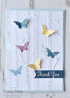 Woodland Embossing Folder from Stampin' Up! - Bedlam and Butterflies Inspiration for cards can strike anywhere. Check out this thank you card inspired by a kitchen make over on a home improvement TV programme! Cute Cards, Diy Cards, Your Cards, Tarjetas Stampin Up, Embossed Cards, Stamping Up Cards, Sympathy Cards, Greeting Cards Handmade, Butterfly Cards Handmade