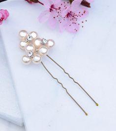 Pearl Cluster Hair Pin, Hair Pins and Grips - Katherine Swaine Bridal Hair Pins, Swarovski Pearls, Small Flowers, Wedding Hair Accessories, Wedding Hairstyles, Beauty, Barn, Wedding Ideas, Weddings