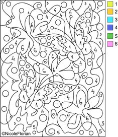 Free Coloring Pages: COLOR BY NUMBER * Coloring pages Good visual motor and perceptual skills builder. Increases sustained attention and focus. Visual scanning skills.