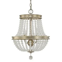 This Handley collection 3-light chandelier features a beautiful hand painted iced gold finish that will complement many modern and transitional decors.The clear crystal beads and accents add interest