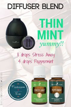This diffuser blend smells just like Thin Mint Girl Scout Cookies! Young Living Stress Away and Peppermint essential oils is all you need. Young Living Member ID 2475812 / Frankincense 4 Ever / Chrissy Kihm