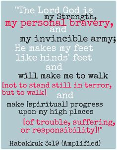 Habakkuk 3:19 ~ The Lord God is my Strength, my personal bravery, and my invincible army...