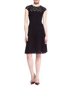 Escada Cap-Sleeve Cutout Top & Cutout Skirt