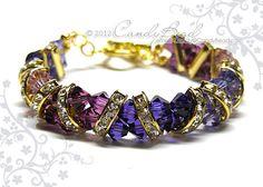 Swarovski Bracelet Purple and Gold Crystal Cuff by candybead, $20.00