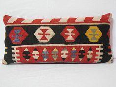 Kilim Turkish Handmade Black and Red Pillow Cushion 12x24 Lumbar $53