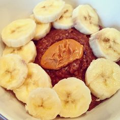 Oatmeal creation: dark choco almond milk, banana & peanut butter!