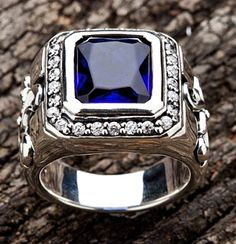 Tribal Cross Sapphire Men Rings. Huge tribal cross big sapphire on the center.