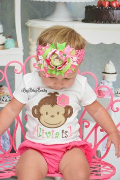 First second ANY AGE birthday girl monkey by Itzybitzybeauty