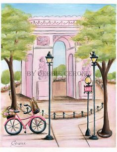 Paris Art Prints, great girl's baby shower gift idea! Personalized Paris art prints feature the Eiffel Tower, French cafes, boulangeries, patisseries, Arc de Triomphe. Prints can be purchased separately or as a set. The 'Patisserie Print' can be personalized with girl's name!