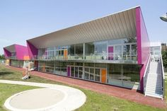 Jarun Kindergarten and Nursery by Penezic & Rogina Architects, Croatia. Pink & orange.