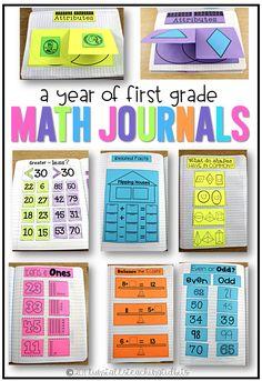 A year of first grade math journals, interactive math notebook for first grade