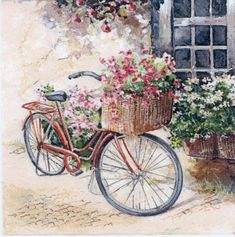 Decoupage Napkins of Bicycle Basket of Flowers Decoupage Vintage, Decoupage Glass, Paper Napkins For Decoupage, Bicycle Painting, Bicycle Art, Paper Art, Paper Crafts, Bicycle Illustration, Flower Basket