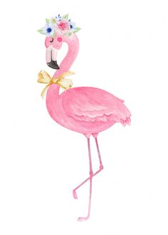 Cute flamingo with flower crown and bow . Crown Painting, Bunny Painting, Flower Crown Drawing, Flower Girl Crown, Pink Flamingos Birds, Pink Bird, Flamingo Party Supplies, Flamingo Illustration, Pink Nature