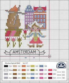 One city each month - by DMC Spain Dmc Cross Stitch, Cross Stitch House, Cross Stitch Kitchen, Cross Stitching, Cross Stitch Embroidery, Cross Stitch Designs, Cross Stitch Patterns, Christmas Embroidery Patterns, Cross Stitch Landscape