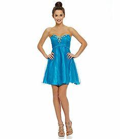 DILLARDS - SEE BEADING ON BODICE ;& GLITTER MESH Masquerade Beaded Glitter Mesh Party Dress #Dillards