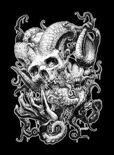 Arte Horror, Horror Art, Dark Fantasy Art, Dark Art, Death Metal, Paul Booth, Evil Skull Tattoo, Nature Tattoo Sleeve, Skeleton Drawings