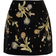 Topshop Unique Brunswick embellished cotton-velvet mini skirt (€285) ❤ liked on Polyvore featuring skirts, mini skirts, bottoms, saias, black, short skirt, embellished mini skirt, topshop unique and embellished skirts
