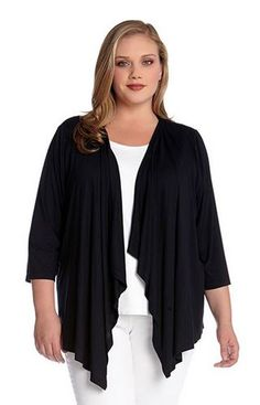 Karen Kane Black Plus Size Shirred Three Quarter Sleeve Drape Jacket! Marked by its effortless style and versatility, this Karen Kane cardigan is a basic layering piece and an essential wardrobe staple. #Resort_2015 #Resort2015 #Karen_Kane #Plus_Size #Black #Drape #Front #Jacket #Plus #Fashion #KarenKane #Amazon #Resort_Plus_Size_Fashion