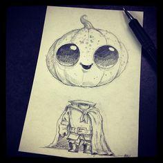 Cutest art. Chris Ryniak #morningscribblesMorning scribbles… Countdown to Halloween #29