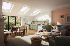 VELUX extensions - twice the daylight House Extension Plans, House Extension Design, Living Room Extension Ideas, Side Extension, Open Plan Kitchen Dining Living, Open Plan Living, Florida Home Decorating, Kitchen Diner Extension, Kitchen Extension Velux Windows