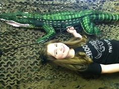 Remi caught a Tree Shakah!!! Our photo booth for her Swamp People Party Girly Style.