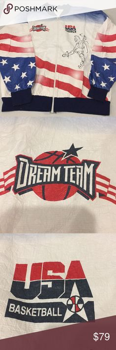 Very Rare USA Basketball Dream Team windbreaker Very rare USA Basketball Dream Team jacket.  Very lightweight made from TYVEK fabric from DuPont.  Great fed ex logo on back. Made in the USA!!!  Fast shipping USA Basketball Jackets & Coats Windbreakers