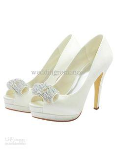 Wholesale Bride Shoes - Buy Formal Satin Rhinestone Peep Toe Spike Heel Bride's Shoes Wedding #u6-19HI, $58.4   DHgate