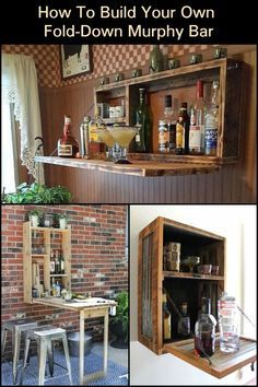 How to build your own fold-down murphy bar - sara stephens - How to build your own fold-down murphy bar This fold-down Murphy bar is perfect when you host outdoor gatherings with family and friends! Diy Bar, Diy Pallet Projects, Woodworking Projects Diy, Pallet Ideas, Wood Projects, Bar Furniture, Unique Furniture, Murphy Bar, Porch Bar