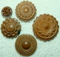 Antique Highly Carved Lacey Vegetable Ivory Buttons