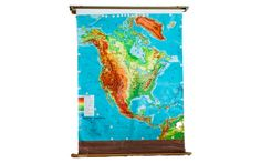 Mid-Century North America Pull Down Map - Old New House® Pull Down Map, North America Map, Custom Items, Old And New, Vibrant Colors, New Homes, Typography, Mid Century, Artwork