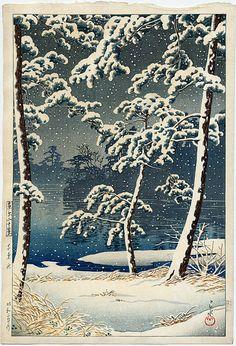 """Senzoku pond in the snow"" by Kawase Hasui, 1928."