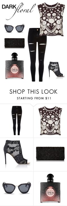 """""""Untitled #458"""" by jdaleo44 ❤ liked on Polyvore featuring River Island, Needle & Thread, Valentino, Prada and Yves Saint Laurent"""